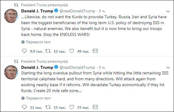 Трамп пригрозил разорить Турцию, если она ударит покурдам