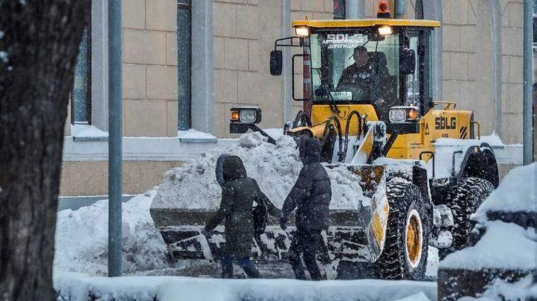 Петербургские коммунальщики вышли вночные смены для борьбы соснегопадом